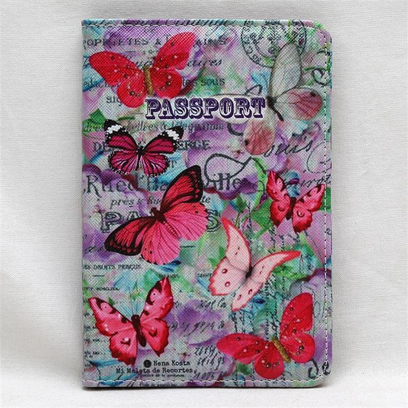 Funda para pasaporte de viaje con patrón de flores, funda para tarjetas de documentos, pasaporte, funda de tarjeta de crédito para damas, Cartera de tarjetas de identificación para viaje