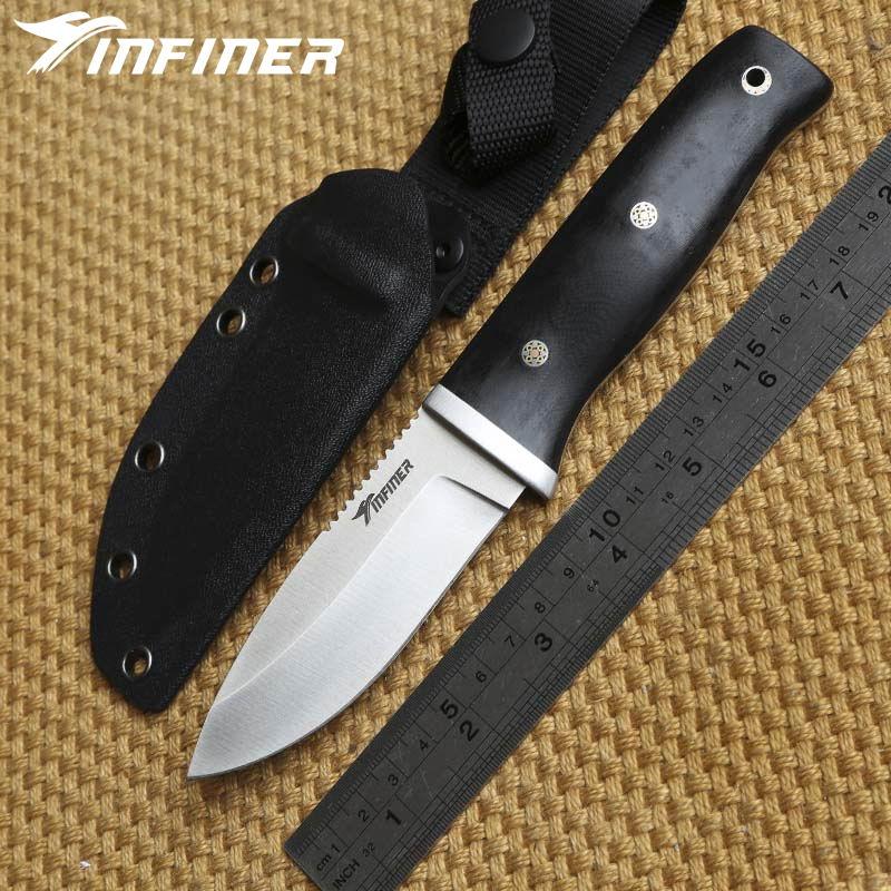 INFINER acompañan A2 hoja G10 mango KYDEX vaina hoja fija caza cuchillo táctico camping supervivencia al aire libre EDC cuchillos herramientas