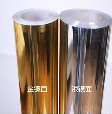 Película de espejo plateada y dorada, papel tapiz de vinilo, autoadhesiva película reflectante, papel de contacto, papel tapiz metálico DIY de 5m/rollo