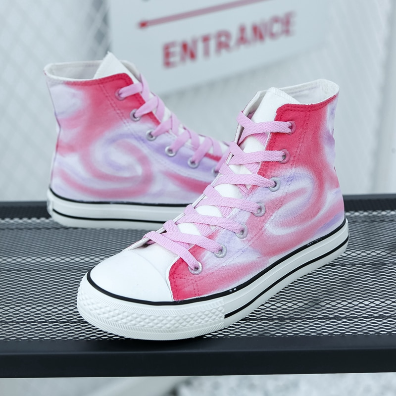 Nova moda colorida alta-topo roxo rosa cavans feminino designers tênis casuais confortáveis vulcanize sapatos de renda mais G1-70