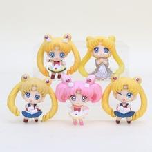 5pcs/set Sailor Moon Figures Toy Sailor Moon Tsukino Usagi Chibi Usa mini Q Version  PVC Figure Dolls Gifts approx 4-5cm