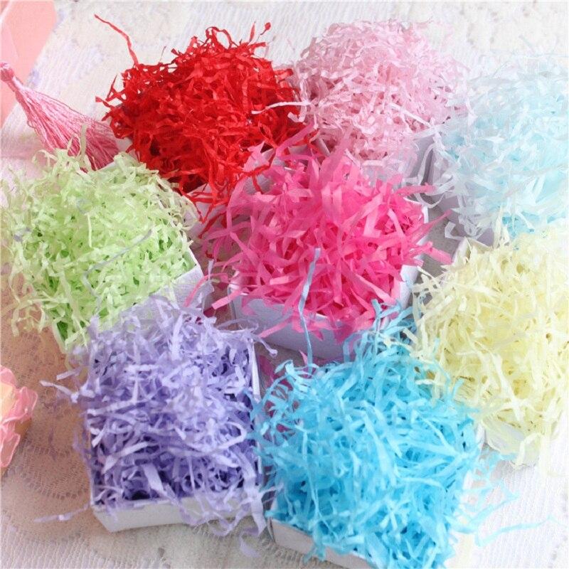 50 g/bolsa arrugado y triturado rafia de papel confeti DIY regalos de paja seca material de relleno de cajas decoración de fiesta de cumpleaños de boda