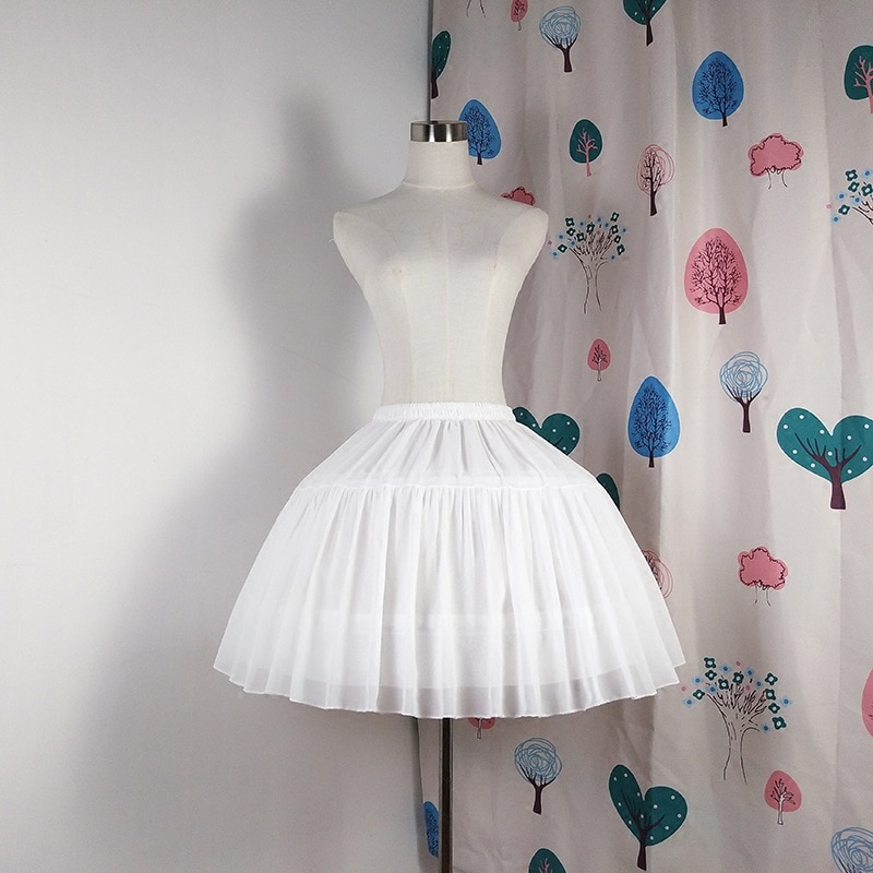 E JUE SHUNG Ball Gown Underskirt Short Dress Cosplay Petticoat Chiffon Two Bones Lolita Petticoat  Ballet Rockabilly Crinoline
