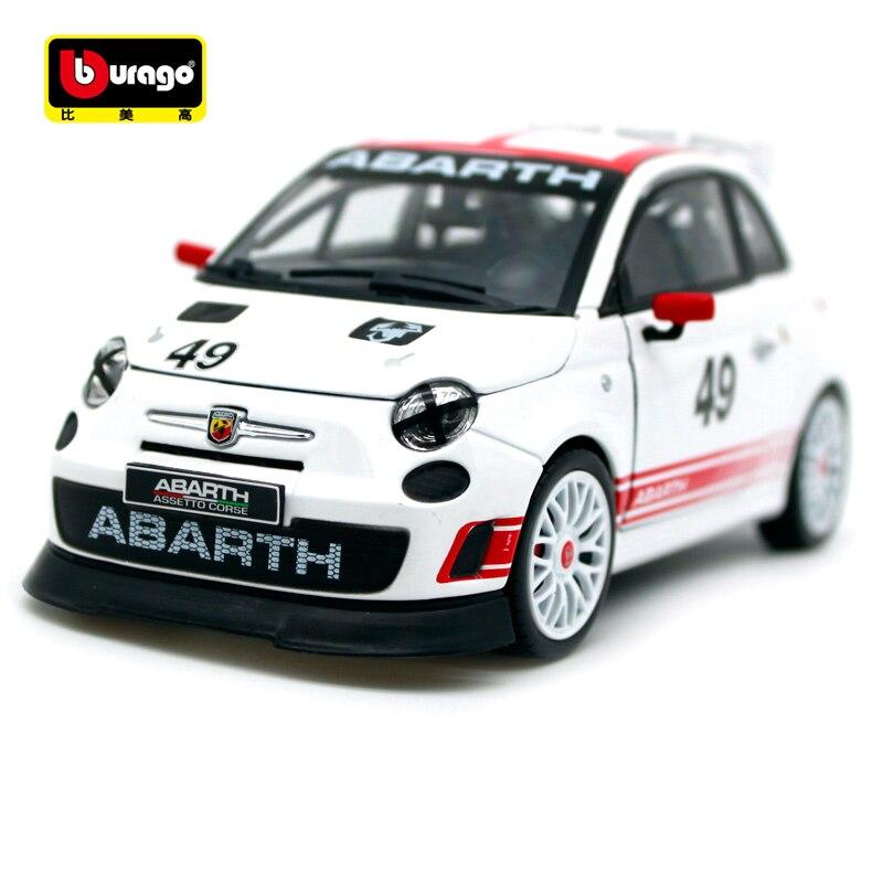 Bburago 124 Fiat ABARTH 500 Assetto Corse 49 # pista blanca coche deportivo Diecast modelo coche de juguete nuevo en caja envío gratis 28101
