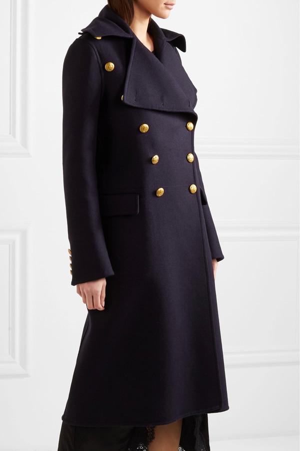 جديد UK 2021 معطف الربيع والشتاء للنساء معطف طويل من الصوف عسكرية مزدوجة الصدر ملابس خارجية نسائية