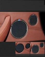 Samochód stylizacji z włókna węglowego głośnik do samochodowego systemu audio drzwi samochodu głośnik wykończenia pierścień naklejka na BMW X5 X6 F15 F16 E70 E71 akcesoria