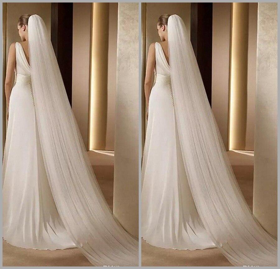 Venta al por mayor de velos de boda de 3M de largo para la catedral de La novia velos de novia de tres capas de tul Vintage con peine accesorio de boda