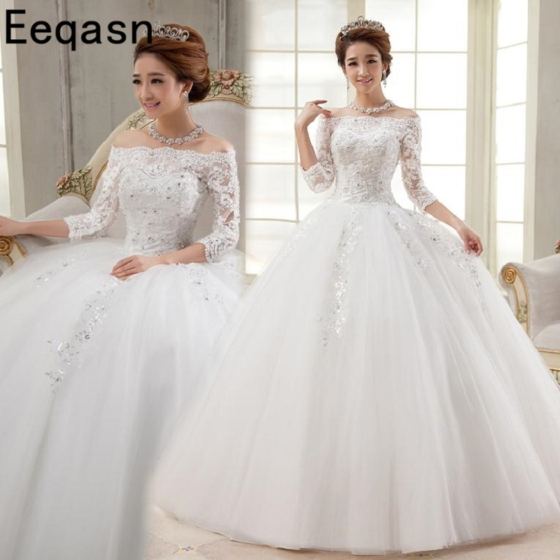 2020 Real Photo Wedding Dresses Cheap Ivory 3/4 Sleeves Ball Gown Applique Lace Bride Dress Vestidos De Novia