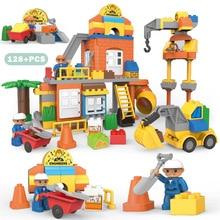 Big Size City Construction DIY Excavator Vehicles Bulldoze Robot Figures Building Blocks Compatible Duploed Brick Kids Toys Gift