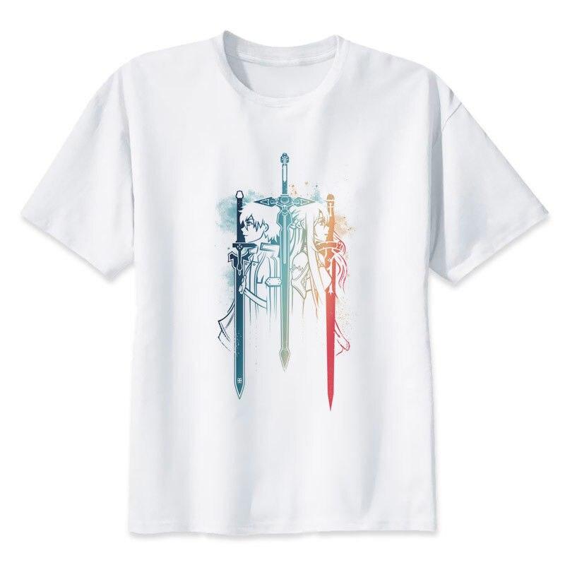 Anime Sword Art Online 2 Kirito & Asuna camiseta SAO Top Sword GGO Cosplay Manga Cool Casual pride camiseta hombres Unisex nuevo
