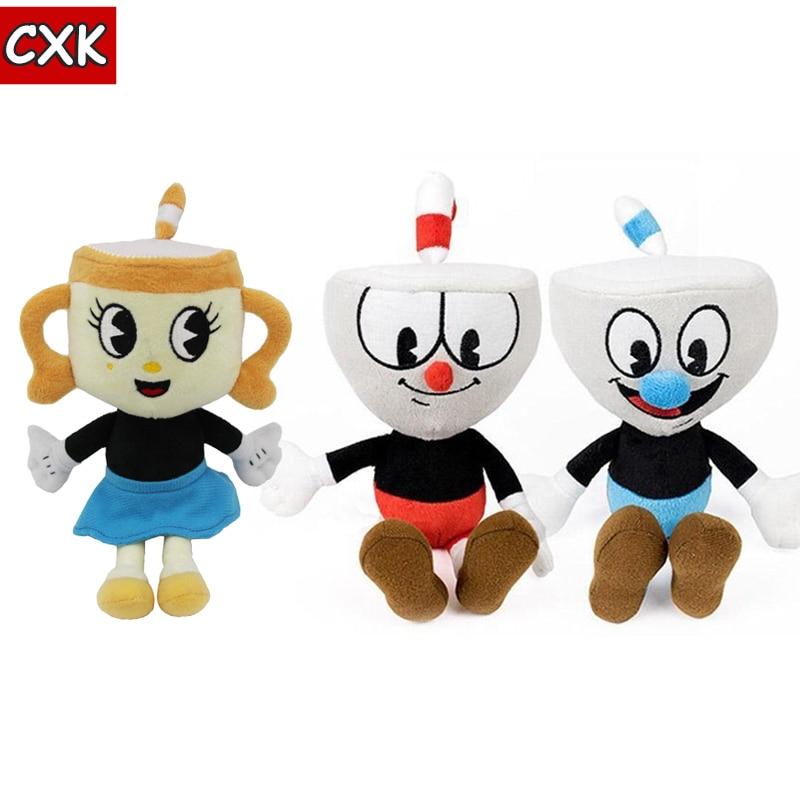 23 cm Cuphead juguetes de peluche suave muñecas de peluche Mugman jefe el diablo legendario cáliz suave muñecas de peluche juguetes para niños regalo