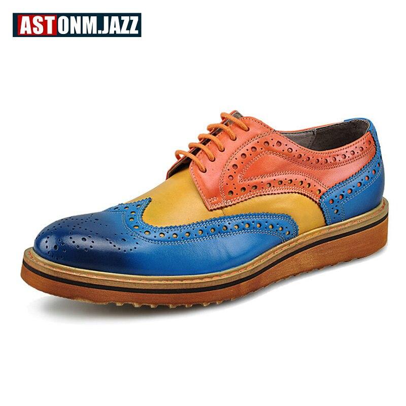 Hommes décontracté en cuir véritable Oxfords chaussures à lacets bout pointu chaussures habillées couleur mixte chaussures de mariage bureau décontracté hommes nouveau
