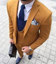2017 dernier manteau pantalon conceptions jaune hommes costume formel Slim Fit Skinny Blazer Masculino personnalisé Simple smoking 3 pièce Terno Lpm