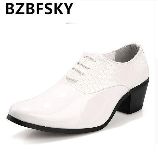 Zapatos de fiesta negros tejidos para hombre, zapatos de boda de cuero de tacón alto de 6cm para hombre, zapatos de tacón alto de 2,3 pulgadas, zapatos trenzados para vestido tejido
