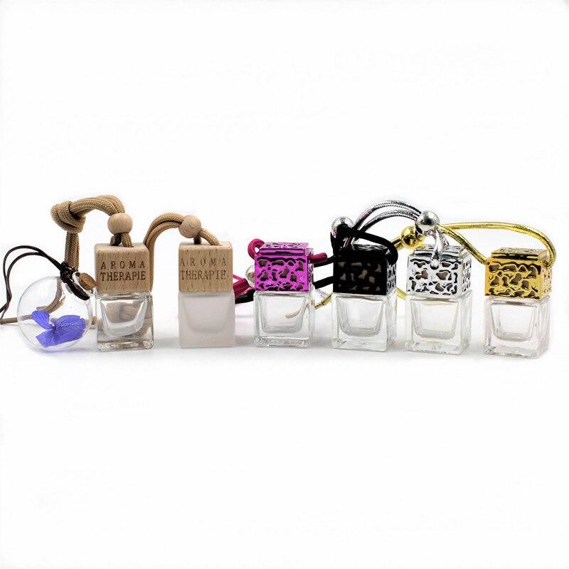 Car botella vacía de Perfume adornos de cristal para aceites esenciales Auto AIRE envase ambientador Aroma colgante Accesorios