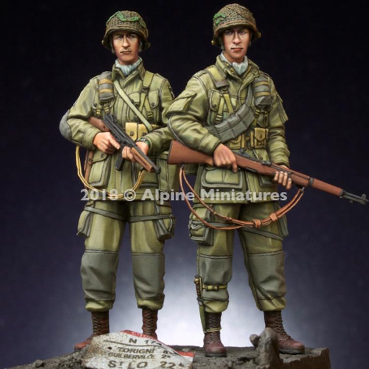 1/35, US 101st Airborne Trooper Set, con 2 cabezas diferentes, busto modelo de resina GK, sin montar y Kit sin pintar