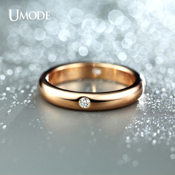 UMODE Rose Gold Color Burnish 4 Pieces CZ Cubic Zirconia Aneis Feminino Flush Setting Wedding Band Ring for Women JR0139A