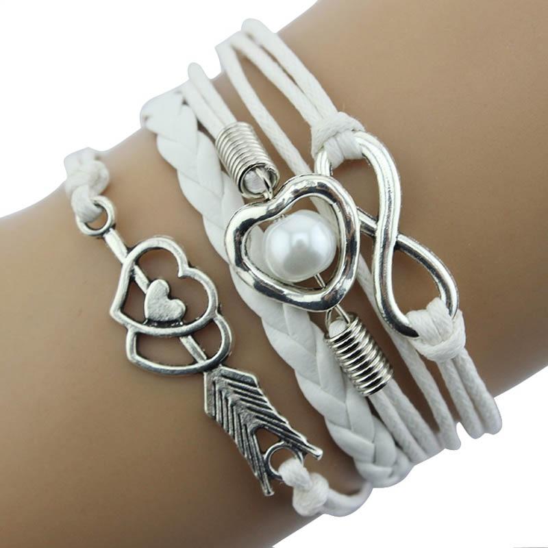 Pulsera trenzada antigua de Gofuly, Retro, DIY, Infinity, de cuero de moda, esposas, amor, corazón, perla, amistad