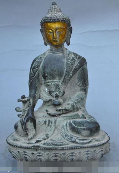 S01726 hierbas MEDICINA china de bronce dorado budismo BUDA Bhaisajyaguru sakyamuni estatua (B0328)