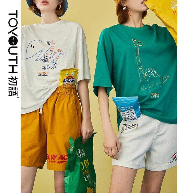 Toyouth dinosaurio camiseta femenina Tops de verano para mujeres 2019 cuello redondo patrón Kawaii Casual divertida camiseta Tops