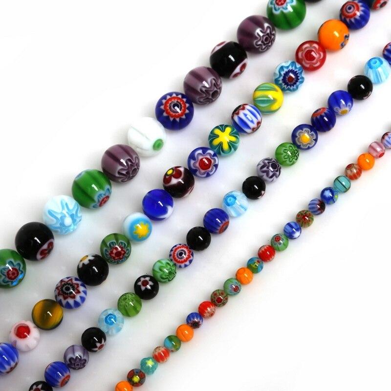 Разноцветные в полоску стеклянные бусины миллефиори, опт, 4, 6, 8, 10 мм, размер для самостоятельного изготовления ювелирных изделий, браслетов и ожерелий