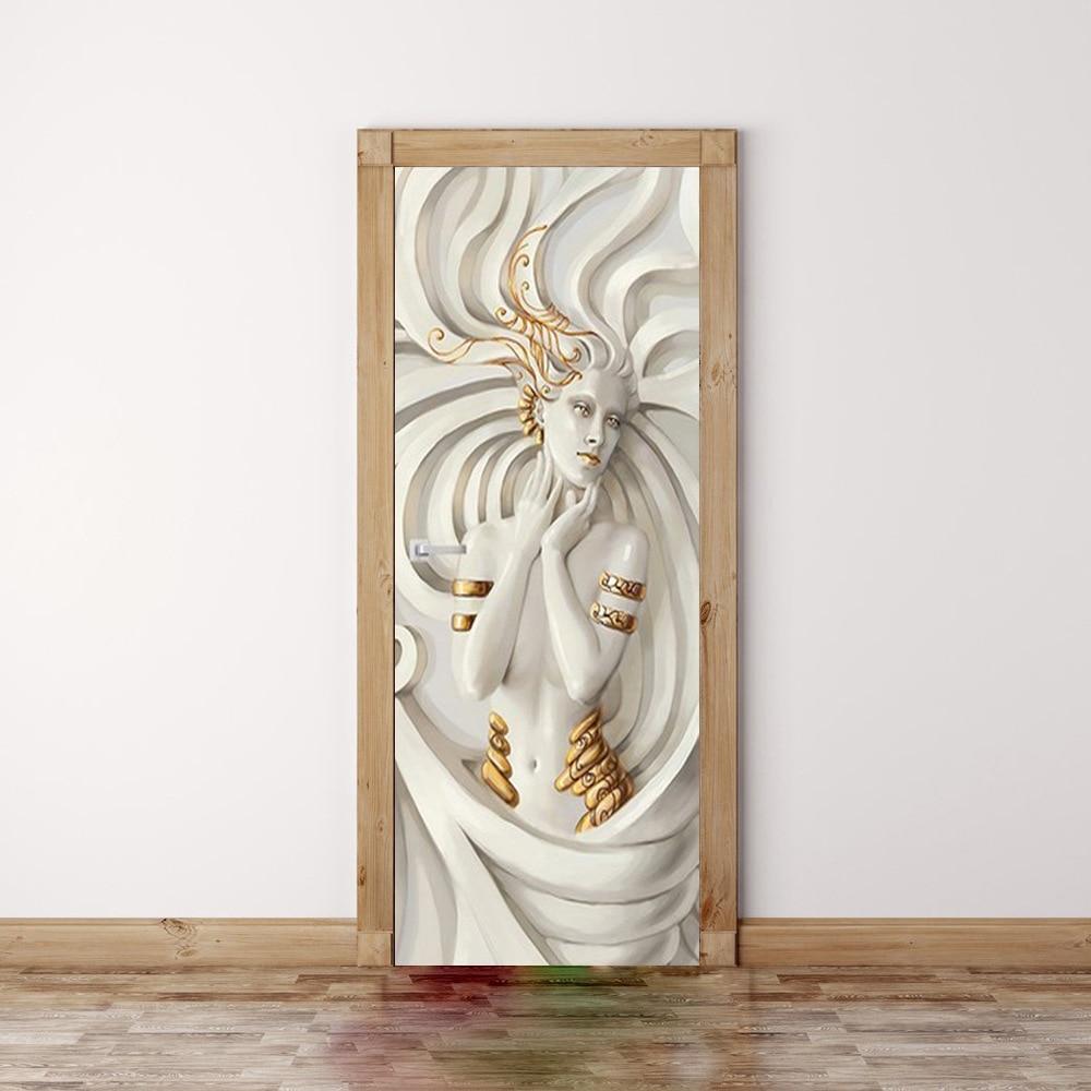 Statue Goddess Portrait Golden Hands Wallpaper Living Room Bedroom Home Decor Door Wall Decals PVC Self-Adhesive Stickers