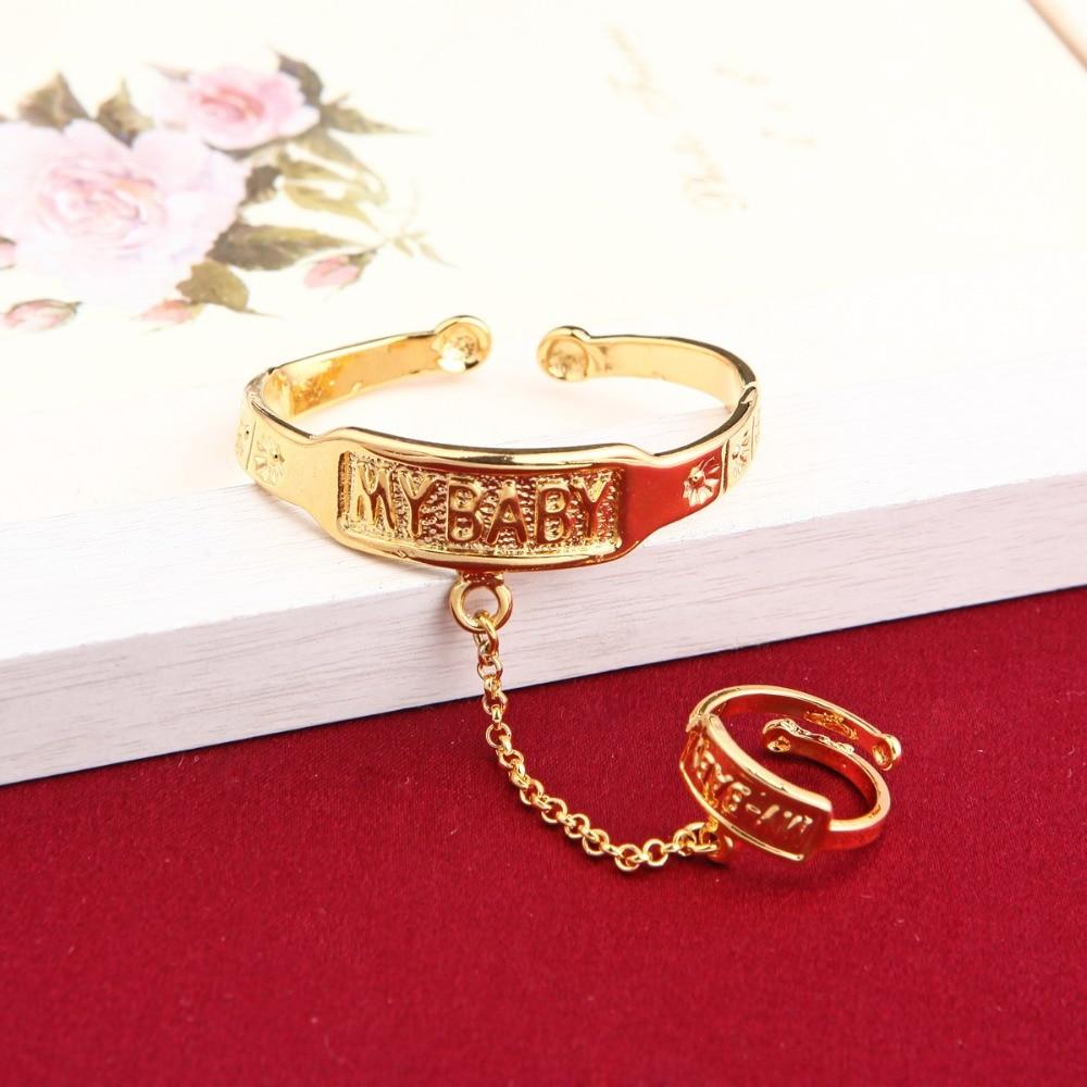Bebés niños, brazaletes chapados en oro, brazaletes ajustables de mano, regalo, joyería encantadora con anillo