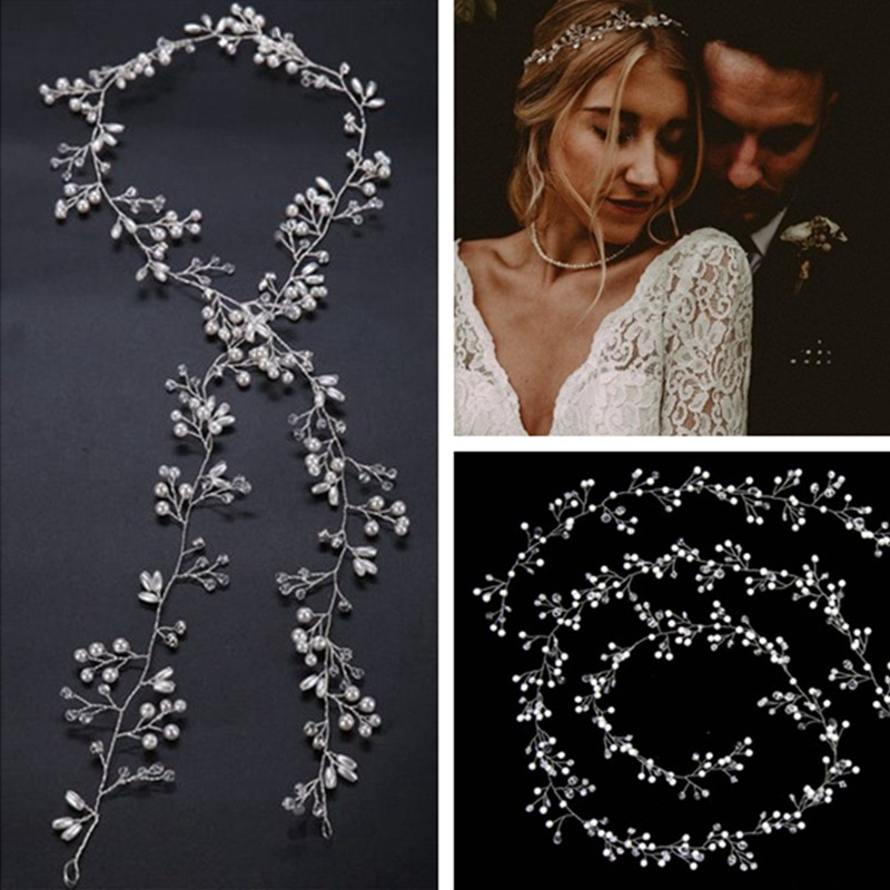 Свадебные аксессуары для волос с кристаллами, обруч с искусственным жемчугом, свадебные обручи для волос, корона для невесты, Женские Ювели...