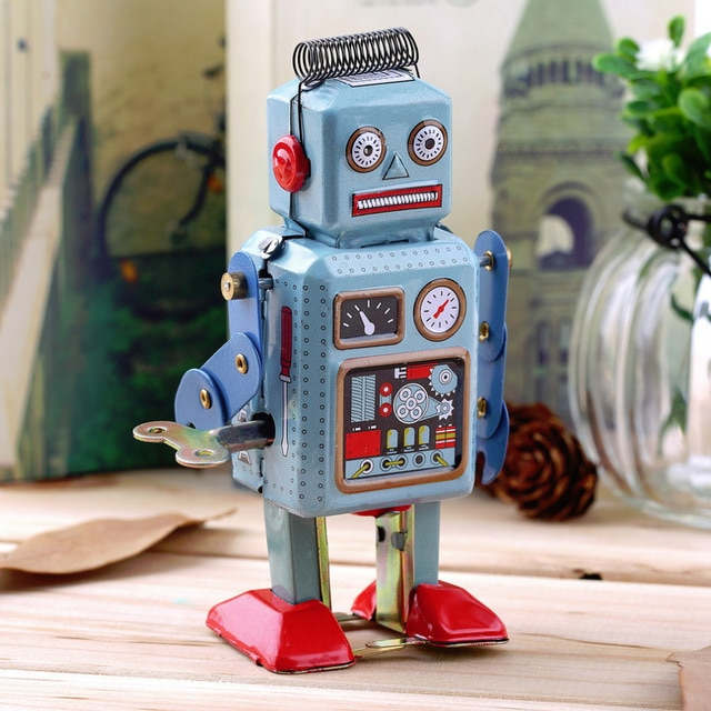 Robot de lata para caminar de Metal para niños, juguete Vintage mecánico,...