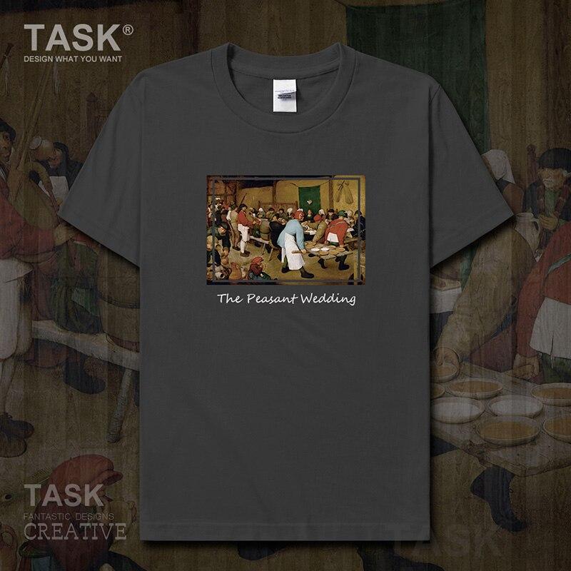 Camiseta a la moda con estampado al óleo con personalidad para hombre, Camiseta con estampado retro de boda campesina, ropa de manga corta, tops de algodón para verano