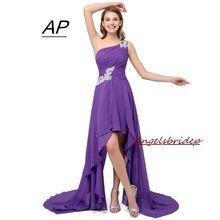 2020 Loss Sell High Low Women Dress Summer Style One Shoulder Applique Formal Dresses Cheap Chiffon Evening Dress Vestido Mujer