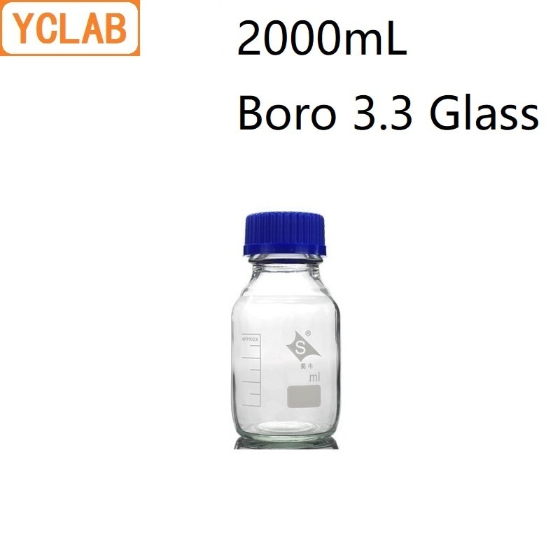 Boca do parafuso da garrafa 2l do reagente de yclab 2000 ml com tampão azul boro 3.3 equipamento médico claro transparente da química do laboratório