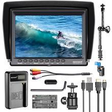Neewer f100 7 인치 1280x800 ips 스크린 카메라 필드 모니터 키트 2600 mah 충전식 리튬 이온 배터리로 4 k 입력 지원