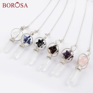 BOROSA 5/10Pcs Multi-kind Gems Stone Pendulum Silver Color Pendant Beads Natural A-meythest Crystal Jewelry for Necklace WX1047