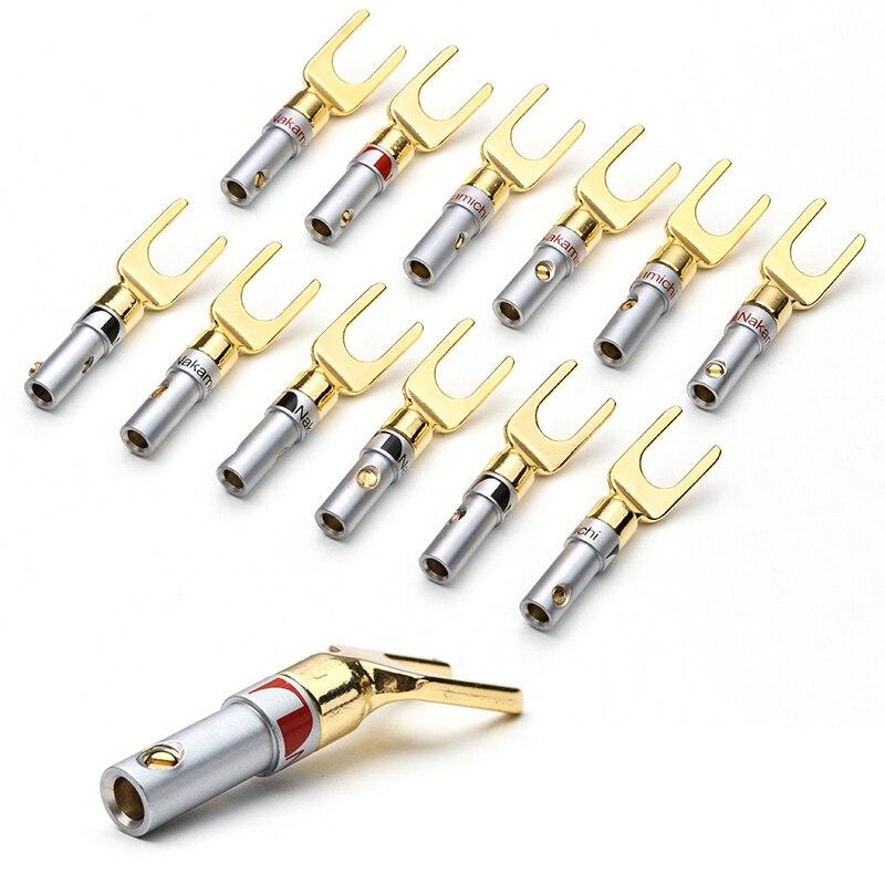 Тип Y/U, позолоченная медная вилка типа «банан», 12 шт., кабель Nakamichi, провод, Вилка разъема, лопата, динамик, разъем, терминал адаптера для аудио