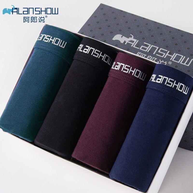 ALANSHOW 4Pcs/lot Mens Underwear Soft Boxers Modal Boxer Men Solid Boxer Shorts Plus Size Boxers Com