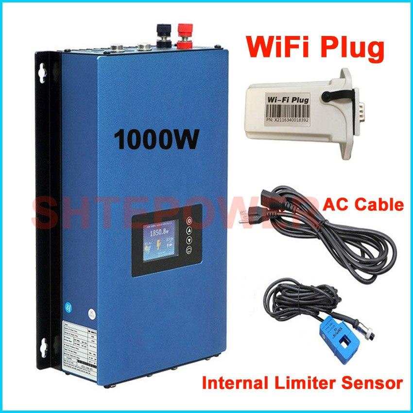 MPPT Solar de potência do inversor 1000 w do Laço Da Grade do inversor 1KW Wifi plug DC 22-45 v entrada para AC saída 110 v/220 v Auto sensor limitador