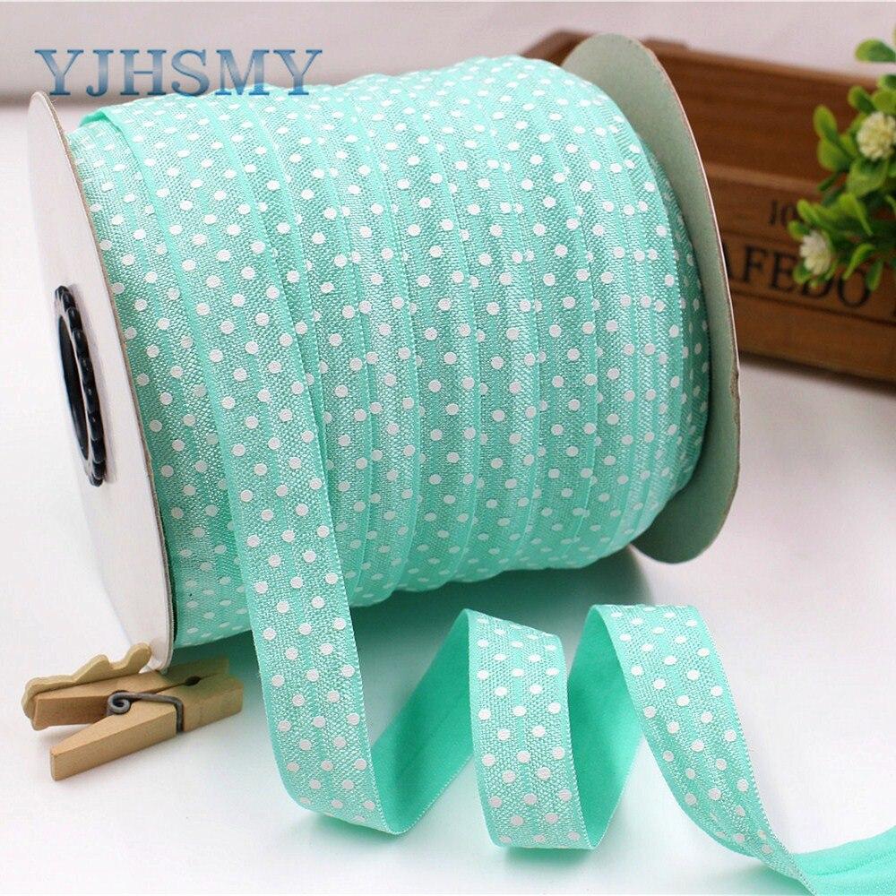 YJHSMY E-18127-18, 16mm, 5 yardas de cinta elástica de impresión de puntos blancos, accesorios para el cabello hechos a mano Material decorativo para embalaje