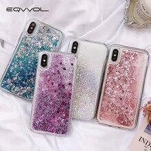 Eqvvol Telefoon Case Voor 7 8 6 6S Plus 5 5S SE Liefde Hart Ster Glitter Dynamic Liquid quicksand Back Telefoon Case Telefoon Cover