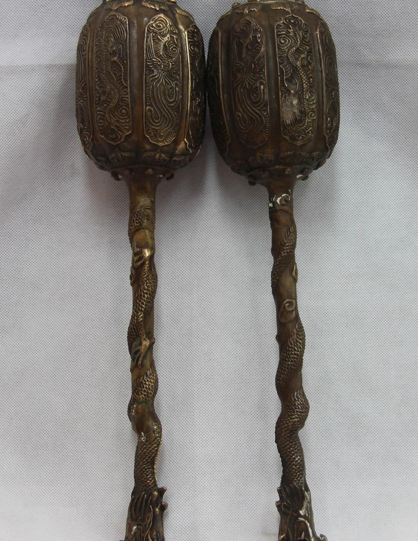 De China Folk Cobre Bronce Guerrero arma armas General Dragón Chui martillo par