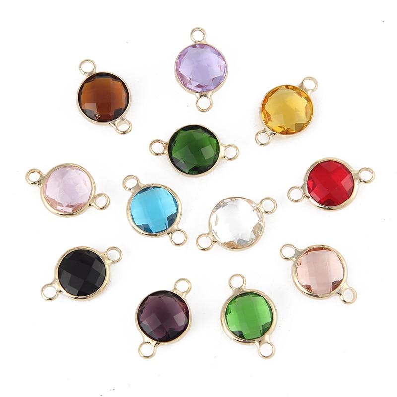 Nuevo diseño 10mm Color oro piedras de nacimiento de cristal conector encantos de piedra para fabricación de joyería DIY 20 Uds