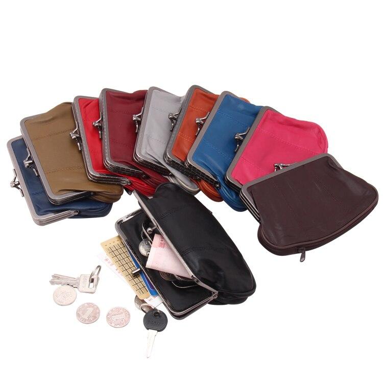 Женский кошелек из натуральной овчины, маленький кошелек из натуральной кожи с карманами для смены, мини-кошелек-клатч