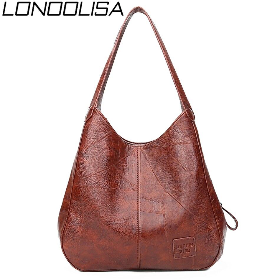 LONOOLISA Brand HOT 2019 Women Handbags Designer Luxury Soft pu leather Handbags Female Vintage women Bag Sac a Main Femme Bolsa