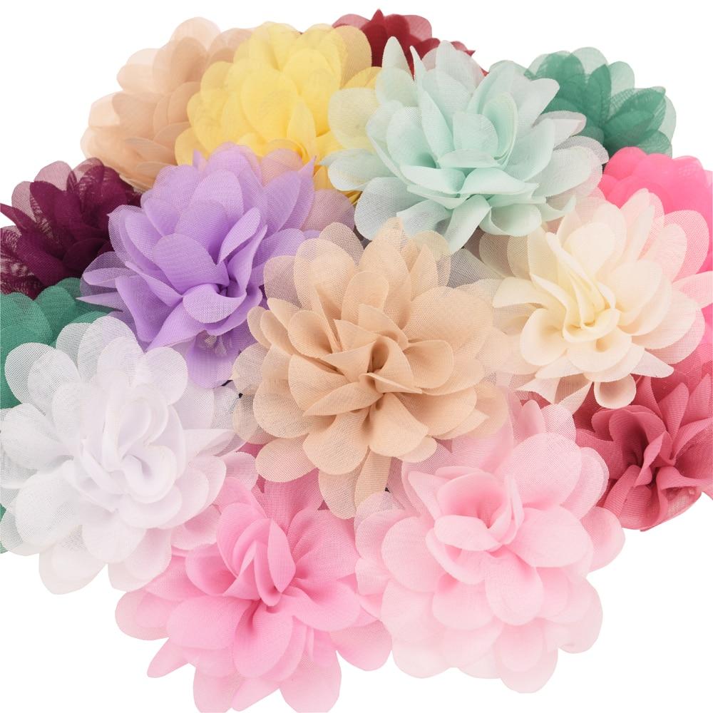 Acessórios para cabelo, acessórios de chiffon para cabelo, flor de 7cm, girassol, unicórnio, faça você mesmo acessório