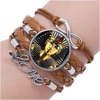 king tut logo bracelet tutankhamun golden king art handmade resin vintage bracelet egyptian jewelry women gift