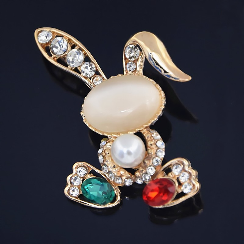 Utei joyería de aleación de Color dorado impresionante cristal exquisito lindo conejo broche increíble Bugs Bunny Collar P