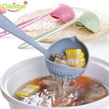 Delidge passoire passoire en plastique   2 en 1 à Long manche, cuillère à soupe passoire ménagère, louche en plastique, passoire de cuisson, cuillère de cuisine, outil de table