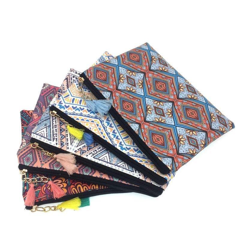 KANDRA bolso de maquillaje Tribal a prueba de agua, bolsa de viaje con cremallera, bolsa de cosméticos, bolso de mano Boho, bolso de mano, regalo de mujer de estilo nativo del sudeste