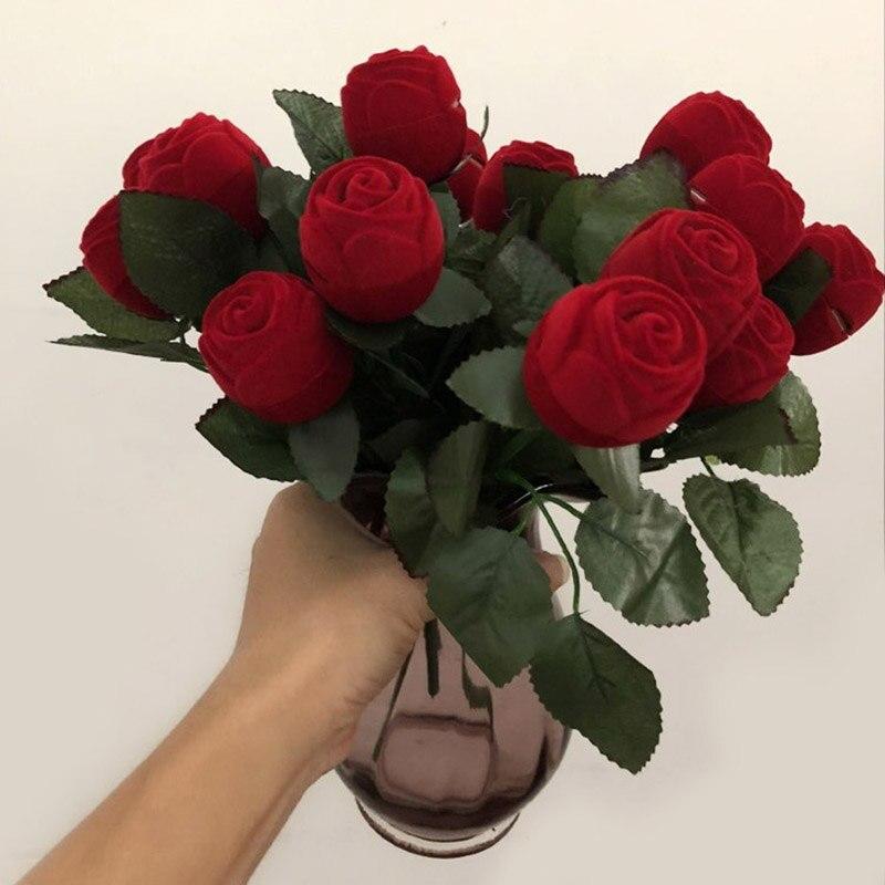 Caja de anillo de rosa roja, caja de joyería de terciopelo, caja de regalo original de boda, cajas de compromiso de San Valentín, organizador de embalaje de joyería