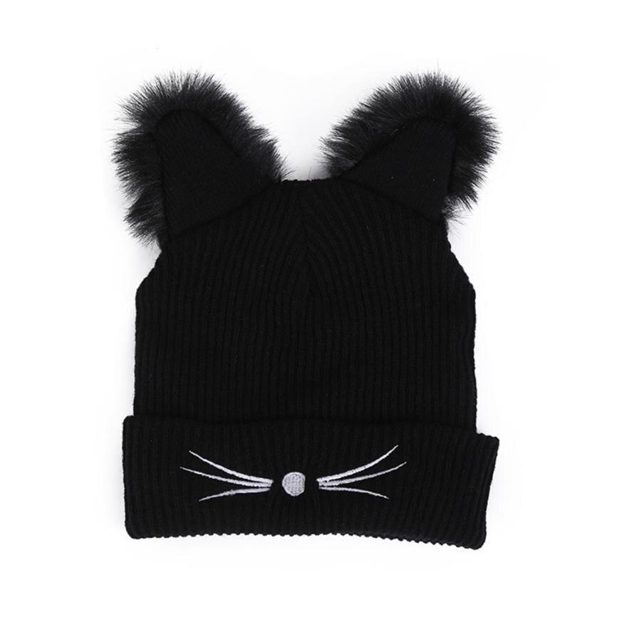 Gorro de esqui de malha de lã de inverno de crochê quente gorro de lã de moda feminino gorro skulchy boné de gato jan10j. 30
